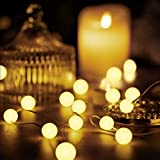 Globe Ball String Lights, 10 Ft 30 LEDs 8 Lighting Modes Battery Operated Fairy Lights with Remote Timer for Indoor Outdoor Bedroom Wedding Patio Garden Party Decoration (Warm White)