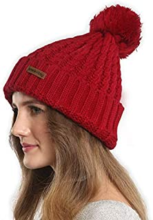 Brook + Bay Faux Fur Pom Pom Beanie for Women - Warm & Cute Cable Knit Winter Hats - Thick, Chunky & Soft Stretch Knitted Caps for Cold Weather - Stylish & Trendy Snow Beanies for Ladies