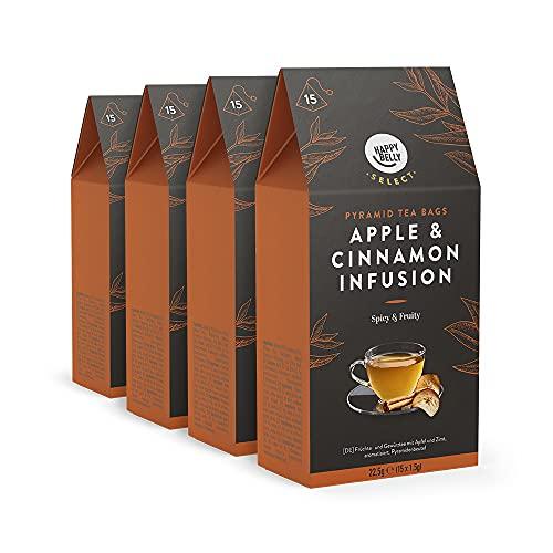 Marca Amazon - Happy Belly Select - Bolsitas de té de hierbas selecto con manzana y canela, 4x15 pirámides
