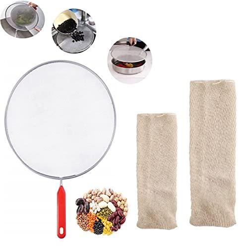 LACOSVI – Malla de Cocción, Red de Cocina Cocer Garbanzos, Bolsa Legumbre 1 de 1kg + 1 de 2kg + 1 Tapadera de sartén Anti salpicadura Multiusos (Pack 1 Marrón)