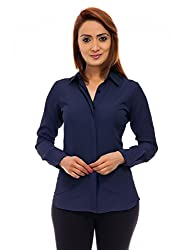 Femninora Womens Blue Color Full Sleeves Formal Shirt