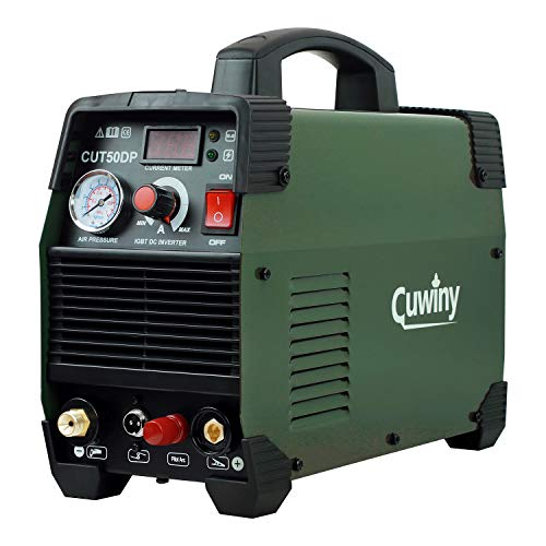 Pilot Arc Plasma Cutter, Cuwiny 50 Amp Dual Voltage 110/220v Non-Touch Pilot Inverter Air Plasma Cutting Machine, IGBT,14mm Clean Cut,16mm Max Severance, Fit For Carbon Steel,Copper, Iron and Aluminum