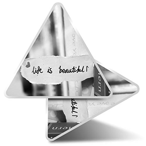 2 x Triangle Stickers 10cm - BW - Life is Quote Positive Reading Fun Decals for Laptops,Tablets,Luggage,Scrap Booking,Fridges,Cool Gift #41665