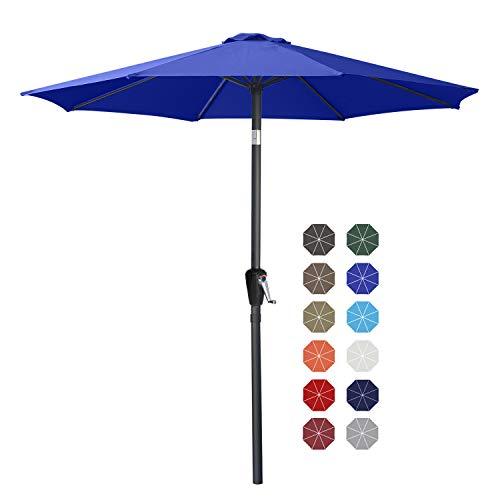 ABCCANOPY Sombrilla de mesa de patio de 9 pies con botón de inclinación para jardín, cubierta, patio trasero y piscina, 6 costillas 13 + colores, azul