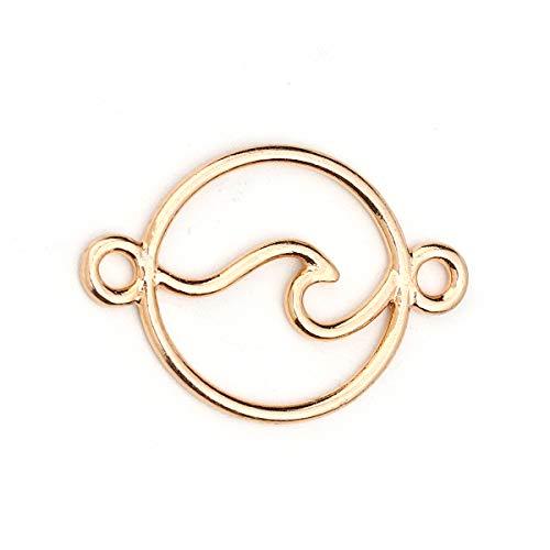 Sadingo Schmuckverbinder Welle Muster, Zwischenstück rund - 10 Stück - 28x20 mm - DIY Schmuck, Makramee, Armbänder,Kette, Farbe:Gold