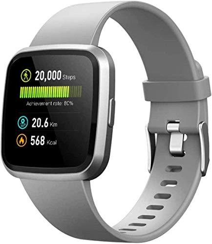 Reloj inteligente para hombre y mujer, resistente al agua, podómetro, monitor de ritmo cardíaco, calorías, reloj de seguimiento de sueño, para iOS y Android, color rosa y plateado