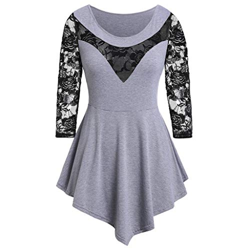 Sauahy Ladies Tops for Womens Plus Size Solid Floral Lace O-Neck Shirts Asymmetric Three Quarter Sexy Blouse Navy