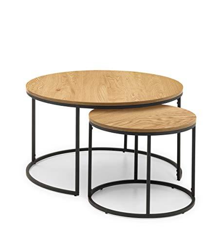 Julian Bowen Round Nest of Tables, Metal, Oak, One Size