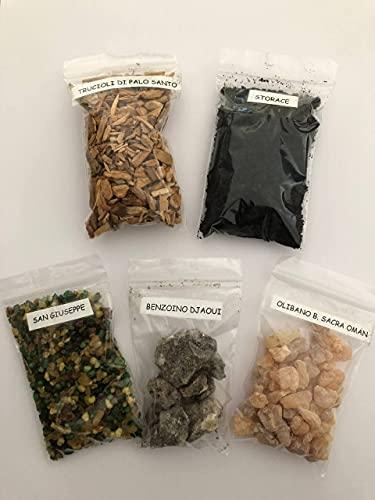 Set di 100gr di incenso in grani Storace, Incenso Oman, Trucioli di Palo Santo, Benzoino Djaouli, San Giuseppe, mix di Resine, bustine di 20g x 5