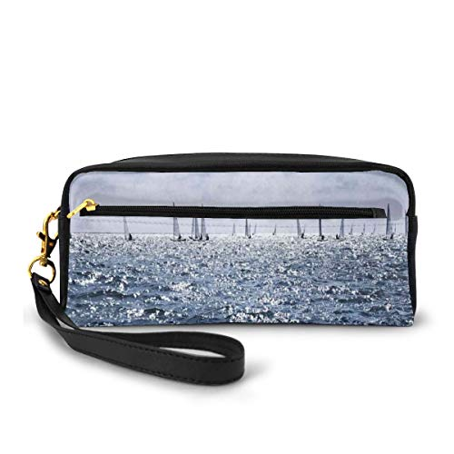 Pencil Case Pen Bag Pouch Stationary,Group of Sailing Boats in The Sea Competition Game Racing Sports Mediterranean Landscape,Small Makeup Bag Coin Purse