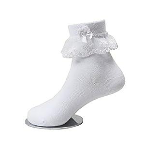 子供レース ソックス リボン 靴下 こども 靴下通販 女の子 キッズ 靴下 フォーマルソックス (17-19cm)