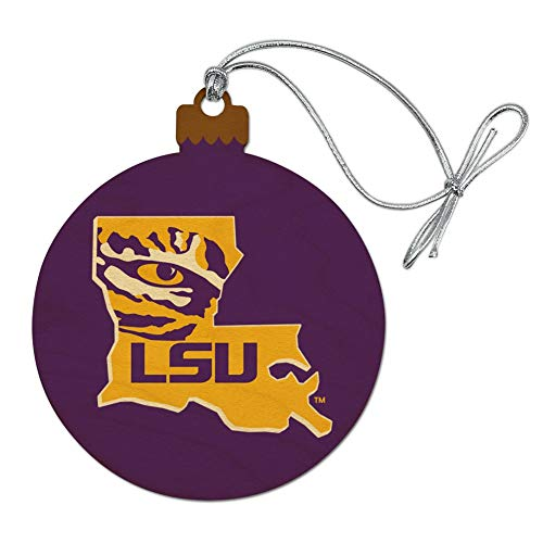 GRAPHICS & MORE LSU Tiger State Mark Wood Christmas Tree Holiday Ornament
