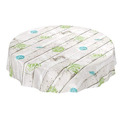 ANRO Industry Style Fresh-Mantel (Madera), Toalla, Borde de Corte, Rund 100cm