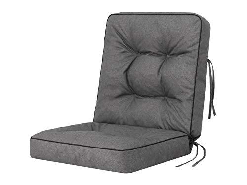 Cojín para banco de jardín, cojín para columpio de jardín, cojín modular para silla, color gris, ancho 50 cm
