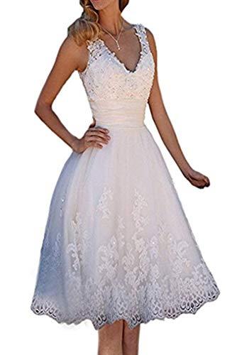 Kurz Brautkleid Spitze Tüll Hochzeitskleider Glitzer A Linie V-Ausschnitt,Weiß,38