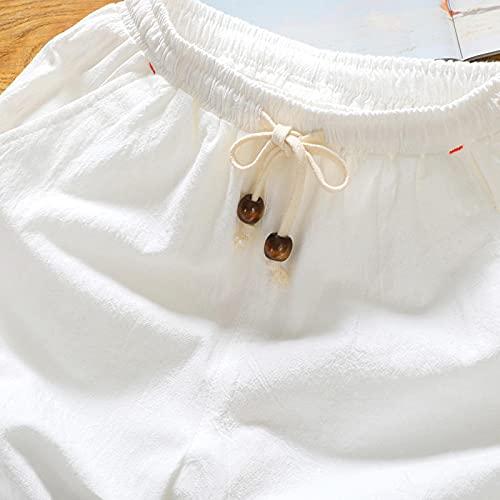 ShFhhwrl Pantalones Cortos Deportivos De Verano Sueltos para Correr Pantalones Cortos De Mezcla De Lino para Hombres De Verano Pa
