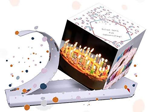 Explodierende Geburtstagskarte. 4 Fotos, Text, Konfetti. Die Geburtstagskarte mit eigenen 4 Bildern und eigenem Text und Konfetti.