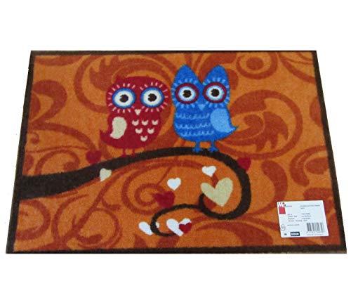 Bavaria Home Style Collection Motiv-Fußmatte - Eulenmatten - Eulen Fußmatte Terra Fußmatte oder Graue Fußmatte - Größe ca. 50 x 75 cm (Terra)