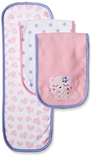 Gerber Baby Girls' 3 Pack Terry Burp Cloths, Kitty, One Size