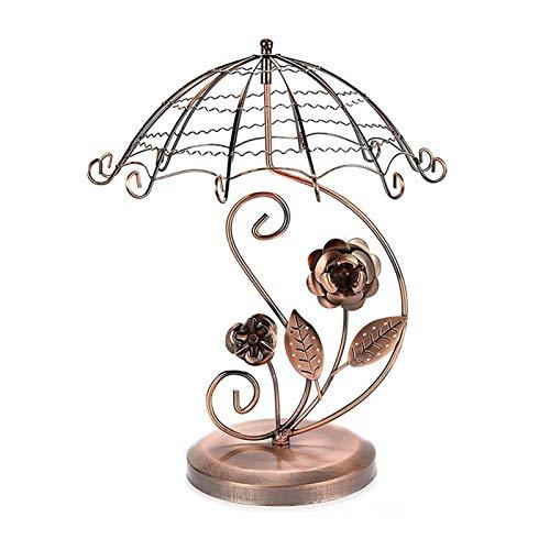Titular de collar Vintage estilo paraguas rosa pendiente de árbol de joyería exhibición de joyas de metal soporte de exhibición, almacenamiento de adornos for dormitorio / hogar / tienda Organizador d