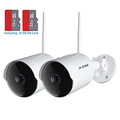Outdoor Security Camera - HD 1080P Bullet Camera 2.4G IP66 Waterproof 50ft Night Vision Home Surveillance IP Camera Two-Way Audio, Motion Detection Alarm/Recording,Set of 2(with 32GB SD Card)