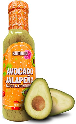Kumana Avocado Hot Sauce, Jalapeño. A Keto Friendly Hot Sauce made with Ripe Avocados and Chili Peppers. Ketogenic and Paleo. Sugar Free, Gluten Free and Low Carb. 13.1 Ounce Bottle.