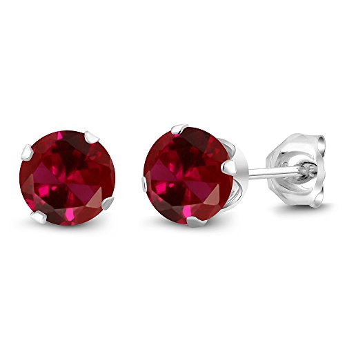 Gem Stone King Red Created Ruby 925 Sterling Silver Stud Earrings (2.00 cttw, 6MM Round Cut)