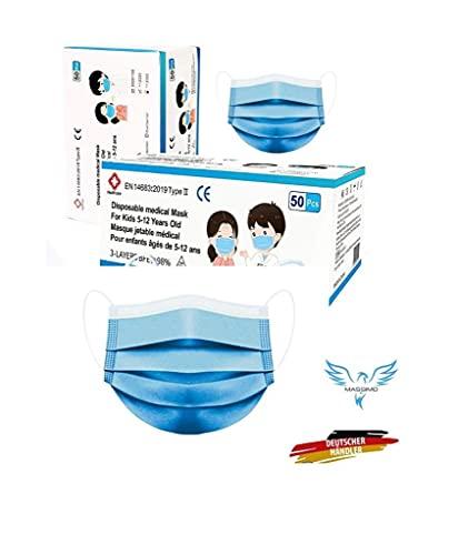 lomi 50 Stück Medizinischer Mundschutz für Kinder Medizinische Kindermaske EN14683 Type II BFE ≥ 99% Einwegmasken Kinder OP Masken .Chirurgische Masken für Kinder - in Deutschland..