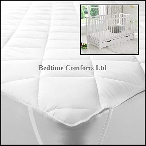 Bedtime Comforts Ltd - Cobertor para colchón de Cuna (elástico, 140 x 80 cm), algodón Mixto, Blanco, 55