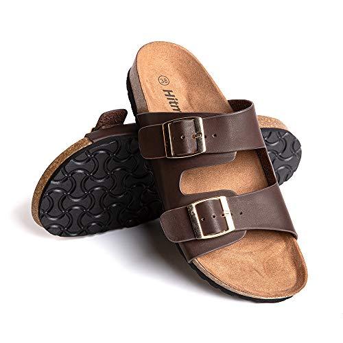 Sandalias Mujer Planas Zapatillas Verano Chanclas con Hebilla Mules Zapatos Soporte del Arco Comodas Marrón Oscuro Talla41 EU