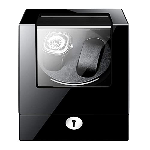 Caja enrolladora de reloj automática Caja enrolladora de reloj Caja enrolladora automática de reloj Doble, batería negra de madera Caja de presentación de reloj silenciosa Caja de almacenamiento Rega