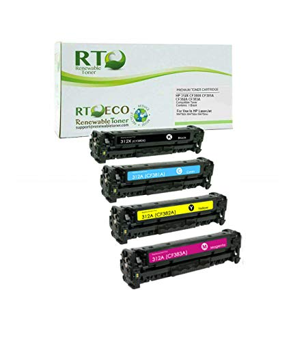 Renewable Toner Compatible Toner Cartridge Replacement for HP 312X CF380X CF381A CF382A CF383A for Laserjet Pro M476 (Cyan, Magenta, Yellow, Black, 4-Pack)
