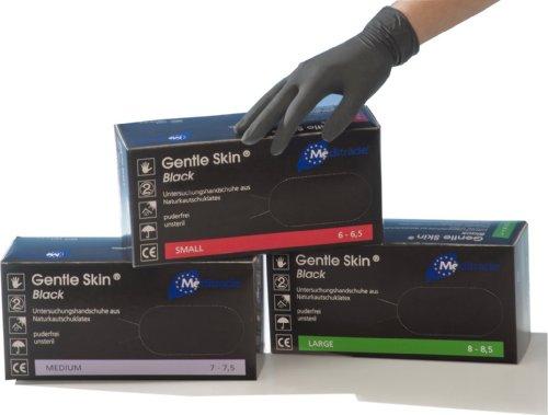 Meditrade Gentle Skin Black Latex Untersuchungshandschuhe - puderfrei - 1000 Einmalhandschuhe - Größe M