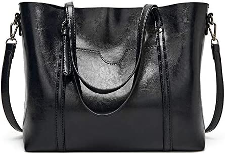 zyylppylw Shoulder Bags Large Capacity Female Shopper Handbag Casual Totes Bag Women Shoulder Strap Hobos Bags Retro PU Leather Crossbody Messenger Bags (Color : Black, Size : 32x12x27cm)