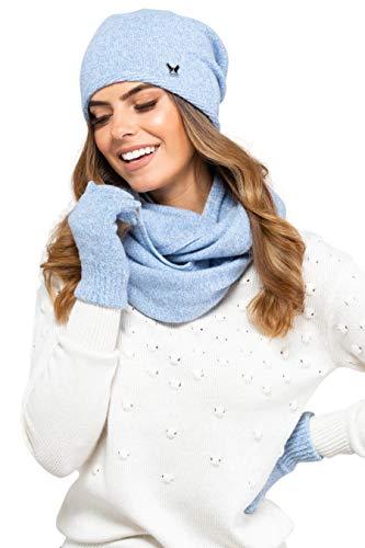 Kamea Winterset für Damen Anna 2-Teilig bestehend aus Loop-Schal und Wintermütze, Beanie, Damenschal als Winter-Schal, verschiedene Farbauswahl