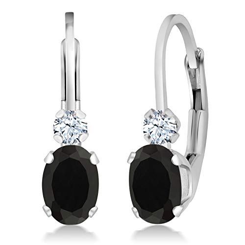 Gem Stone King Black Onyx and White Created Sapphire 925 Sterling Silver Leverback 3/4 Inch Earrings, 0.86 Cttw Oval