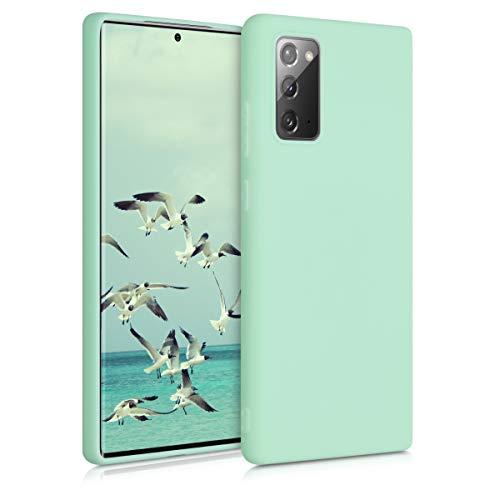 kwmobile Funda Compatible con Samsung Galaxy Note 20 - Carcasa de TPU Silicona - Protector Trasero en Menta Mate