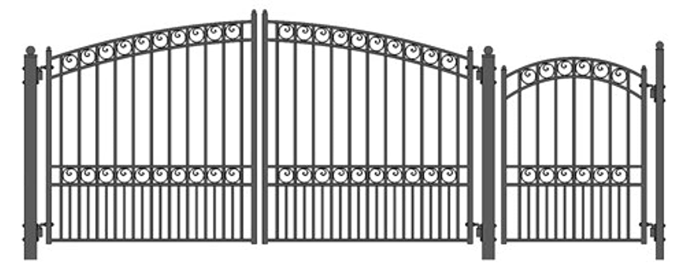 ALEKO SET12X4PARD Paris Style Galvanized Dual Swing Steel Gate Set Driveway Security Gate & Pedestrian Gate Black