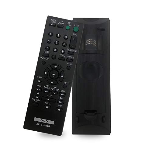 New Replacement Sony DVD Player Remote RMT-D197A for Sony DVD Player DVPSR201P DVPSR210P DVPSR405P DVP-SR500H DVP-SR500WM DVPSR510H DVP-SR100 DVP-SR120 DVP-SR201P - No Setup Needed