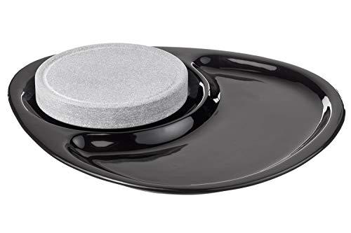 Hukka Design Paistone | zestaw do grillowania i serwowania, składa się z talerza ceramicznego, podkładki korkowej i kamiennej płyty ze steatytu fińskiego