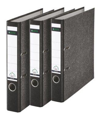 Leitz Qualitäts-Ordner, Wolkenmarmor-Papier, A4, 5,2 cm Rückenbreite, Schwarz, 3er-Pack, 310315095