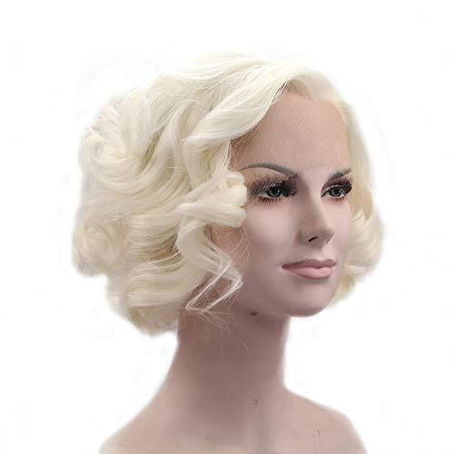 Perücke aus blondem Kunsthaar, Kurzhaarfrisur, Bob, gewellt, für den Sommer, Weiß/Blond