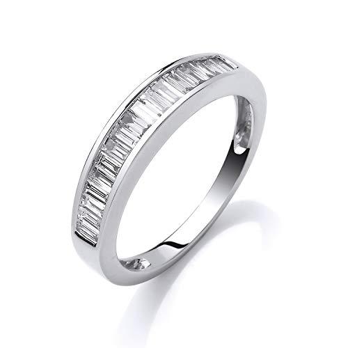 Anillo de eternidad de oro blanco de 18 quilates con diamante de corte baguette de 0,50 quilates.