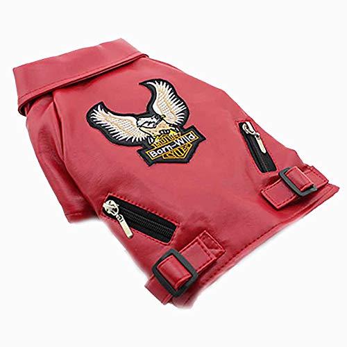 Hmpet Cappotto Invernale per Cani Giacca da Moto in Pelle PU per Cane, Cappotto di Giacca in Pelle Cool Dog Abbigliamento Invernale Caldo per Animali