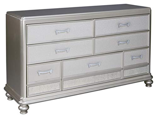 Signature Design by Ashley - Coralayne Chest of Drawers - Exquisite Hollywood Regency Flair Dresser - Silver