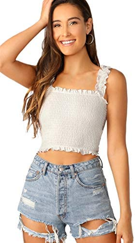 SheIn Women s Casual Frill Smocked Crop Cami Tank Shirred Strap Sleeveless Top White Small product image
