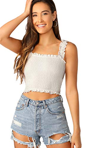 SheIn Women's Casual Frill Smocked Crop Cami Tank Shirred Strap Sleeveless Top White Large