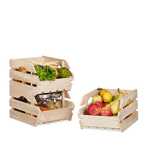 Relaxdays Stapelkisten Holz, 3er Set Stapelbox universal, stabile Lagerkisten zum Stapeln, HxBxT: 20x27,5x38 cm, Natur