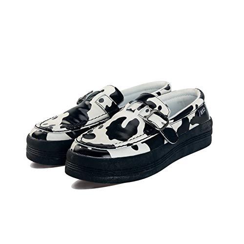 Zapatos Casuales Planos para Mujer, Zapatos sin Cordones, Mocasines con Estampado de Vaca, Moda de Ocio, Primavera Verano, Mocasines Suaves y Bajos, Zapatos al Aire Libre