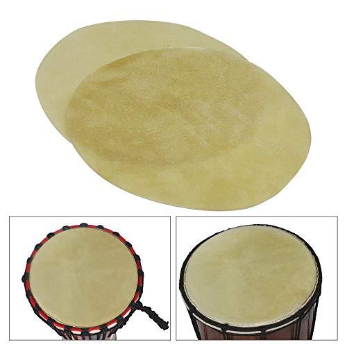 Fesjoy Trommelhaut 29cm / 11.4in Trommelkopf Durable Buffalo Skin Round Drum Convers für Bongo Afrikanische Trommel Conga Konga Drums, 2pcs / pack